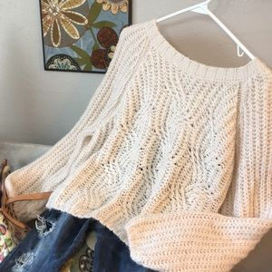 Furry Kimchi Blue Sweater Pale Peach Crop Oversize